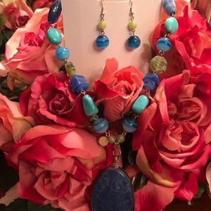 Long blue stones pendant necklace/earrings